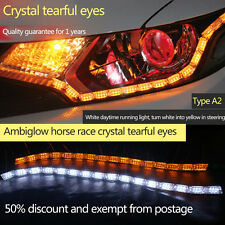2x DRL Switchback LED Daytime Running Strip Sequential Turn Signal White/Amber