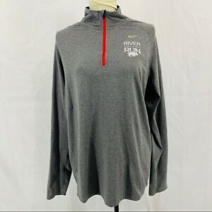 Nike Mens Element Dri-Fit  Reflective Running 1/2 Zip Shirt Large Embroidered