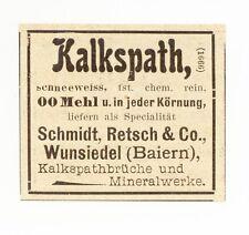 WUNSIEDEL, Werbung / Anzeige 1902,Schmidt,Retsch&Co. Kalkspathbrüche-Mineralwerk