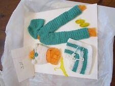 Barbie accessories homemade knit vacation pants shawl shoes shirt teal aqua  j21