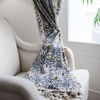 Floral Tassel Curtains Cotton Linen Blend Rod Pocket Window Curtain Bedroom Deco