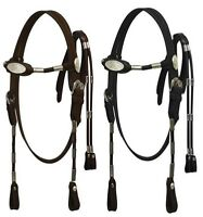 Western Large Pony / Cob size Horse Bridle Headstall w/ Reins Brown or Black