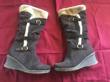 Bare Traps Snow Boots Wedge Heeled Faux Fur Brown 10m Free Shipping!