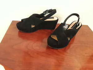 Steven by Steven Madden Sol womens suede platform  heelled sandals Black 7.5 M