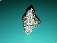 Sterling Silver Art Deco Style Cubic Zirconia Shield Ring