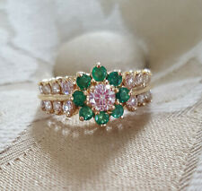 Beautiful 14K YG Diamond & Emerald Floral Halo Engagement Cocktail Ring .86 TCW