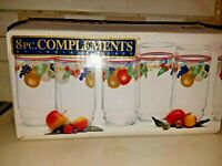 Indiana Glass Co  8- 16 oz Coolers Complements Fruit Pattern NIB