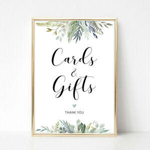 Green Foliage 'Cards & Gifts' Wedding Sign A4