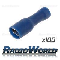 100x Insulated Blue Female Spade Connectors Splice Terminals Crimp Electrical