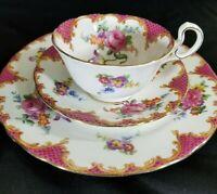 Vintage Aynsley Trio Bone China (Wilton Pink B971) Cup, Saucer & Plate