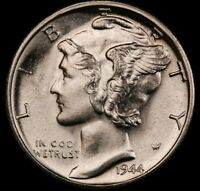 1944 S Mercury Dime Brilliant Uncirculated 90% Silver Coin Gem BU FB