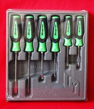 Snap On Tools Screwdriver Set Green Soft Grip Combination 6 Pc. Set Brand New