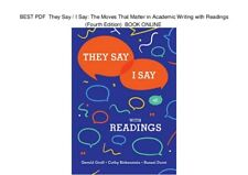 {{Eßθθk}}They Say / I Say-Cathy&Gerald-4thEdition {{PDF, EPUB}}