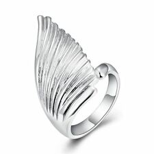 925 Silver Plt Statement Angel Wing Adjustable Ring Bird Thumb Feather Gift A