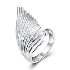 925 Argento PLT dichiarazione Angel Wing Anello Regolabile Bird Pollice PIUMA regalo un