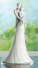 """9"""" Embrace White Wedding Cake Topper Gina Freehill Design Bride & Groom # 63600"""
