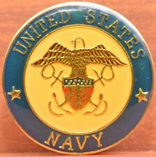 "USN Lapel Pin United States Navy Military Eagle Crest Insignia 1"" Clutch Back"