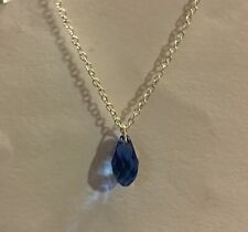 SMALL GLASS BLUE FACETED BRIOLETTE DROP PENDANT SILVER PLATED CHAIN