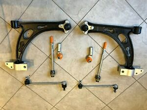VW CADDY 04-10 TWO FRONT LOWER WISHBONE ARMS 2 INNER 2 OUTER ROD ENDS AND LINKS