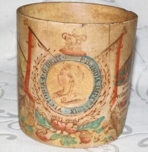 ANTIQUE 1897 VICTORIAN DIAMOND JUBILEE POTTERY CUP MUG QUEEN VICTORIA REIGN