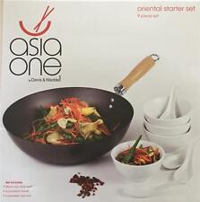 Davis and Waddell Asia One Oriental Starter Set Wok Rice Bowls Non Stick Spoons