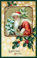 Vintage Art~Old World Santa Claus~Holly~Snowflakes~ New Christmas Note Cards