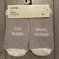 NWT Eat, Sleep, Drink, Repeat - Sole Print Ladies Ankle Socks- Anti-Slip -1 Pair