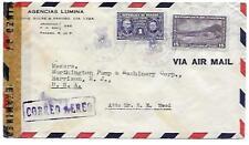 PANAMA POSTAL HISTORY WWII CENSORED COVER ADDR USA CANC YR'1943