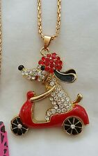 Betsy Johnson Rhinestone Red Scooter Dog NECKLACE