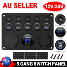 5 Gang 12V Switch Panel ON-OFF Toggle 2USB Charger for Car Boat Marine RV Truck