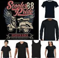 SCOOTER T-SHIRT Mens Pride Funny MOD Lambretta Vespa Paul Weller Bike Logo Top