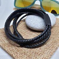 Leather Mens Bracelet Surfer Wristband Wrap Multi Row Steel Clasp + Gift Bag UK