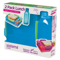 Sistema Lunch Pack, Lunch Box and Water Bottle Set, Blue Back To School Work