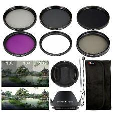Kit de filtros UV FLD CPL ND2 4 8 +Lens Hood 58mm para Canon 60D 600D 650D LF134