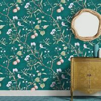 Peach Tree Peel and Stick Wall paper Green Wall paper Flower & Bird Waterproof-*
