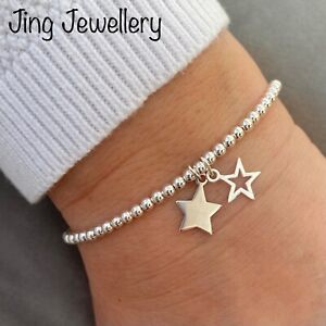 Sterling Silver 925 Beaded Stretch Stacking Bracelet with Double Star Charms