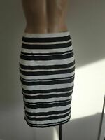 TOKITO size 10 pencil skirt mid-high waist, white black nude stripes