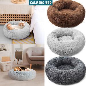 Donut Dog Bed Pet Cat Calming Comfy Shag Fluffy Warm Bed Nest Mattress Fur Pads