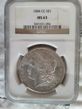 1884-CC Morgan Silver Dollar PCGS MS63 NGC Certified