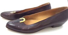 Bally Brown Burgundy 11N Shoes Croc Gold  Flat Shoes Low Heel Great Condition