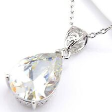Angel's Tear Genuine White Fire Topaz Platinum Plated Heart Necklace Pendant