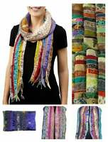 5PC Indian Vintage Silk Scarf Scarves Kantha Stole Wrap Sari Wholesale rate Lot