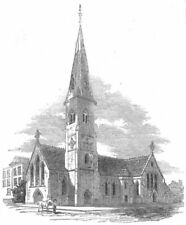 LONDON. New Church of St Mark, Tollington Park, , antique print, 1854
