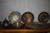 VTG Lot 6 Silverplate Wilcox Sheffield Valentine Linsley Platters Plate Sugar