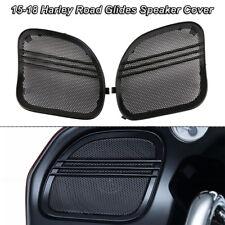 Black Tri-Line Speaker Grills Cover Trim For Harley Touring Road Glide 2015-18