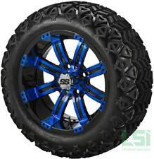 4 Golf Cart 23x10-14 All Terrain DOT Tire on a 14x7 Black/Blue Casino Wheel
