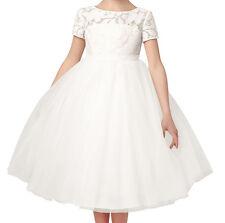 Celine Flores Niña Marfil Encaje Vestido Tul Boda Cumpleaños Regalo Dama de honor vestido de