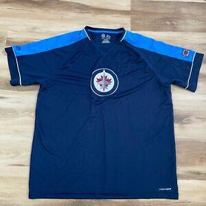 Majestic Winnipeg Jets NHL Cool Base Short Sleeve Shirt Men 2XL Embroidered logo