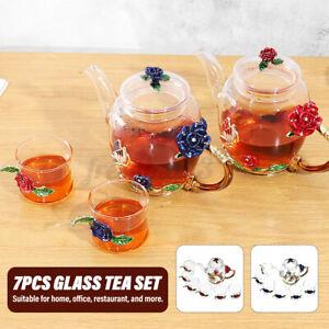 7Pcs Wedding Enamel Glass Flower Tea Set Heat Resistant Coffee Pot Cup Party Dec