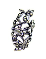 Vintage Art Deco style bronze and crystal twist cutout leaf ring
